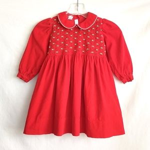 Vintage Toddler Girl Christmas Dress Smocked Red